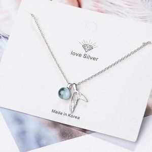 NEW 925 Sterling Silver Crystal Mermaid Necklace